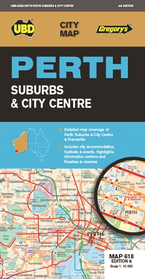 Perth Suburbs & City Centre Map 618 8th ed.