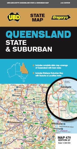 Queensland State & Suburban Map 470 27th ed