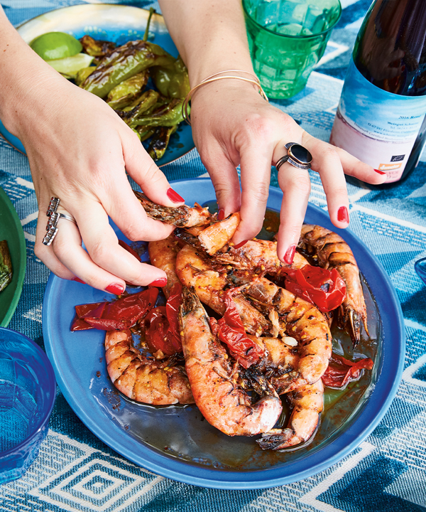 grilled prawn with tomatoes and lime recipe alison roman