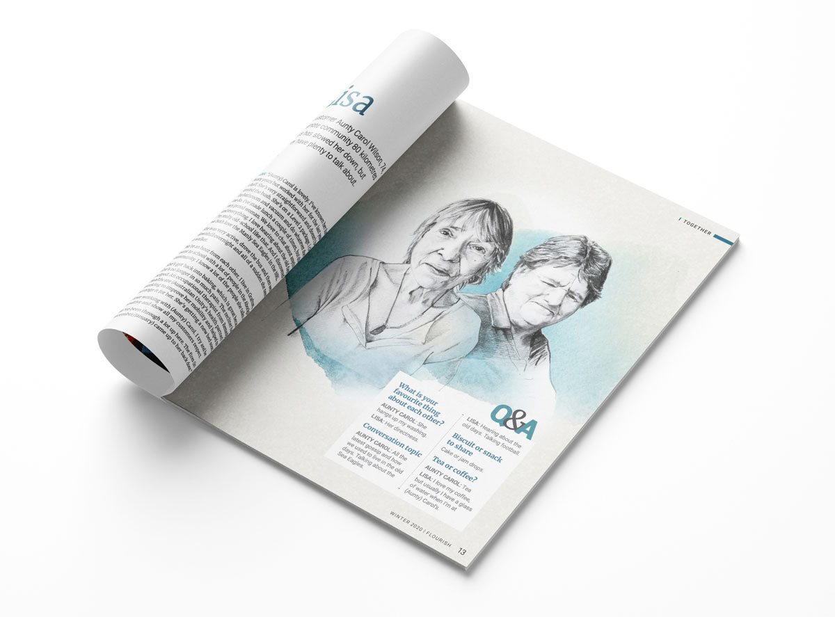 An example of the 2021 design trend of illustrated portraiture as seen in Flourish magazine. There's an illustration of two women.