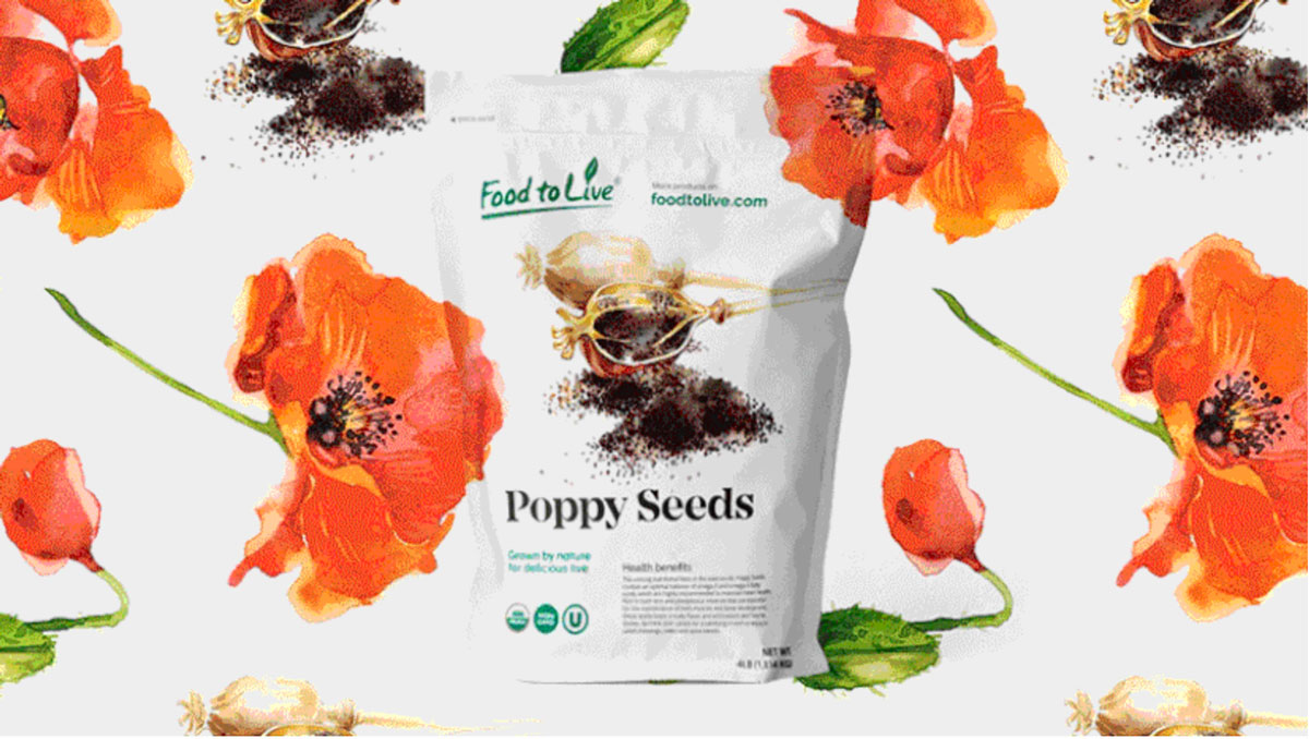 The 2021 design trend of natural elements as show on food packaging for poppy seeds. It features illustrated plants and seeds.