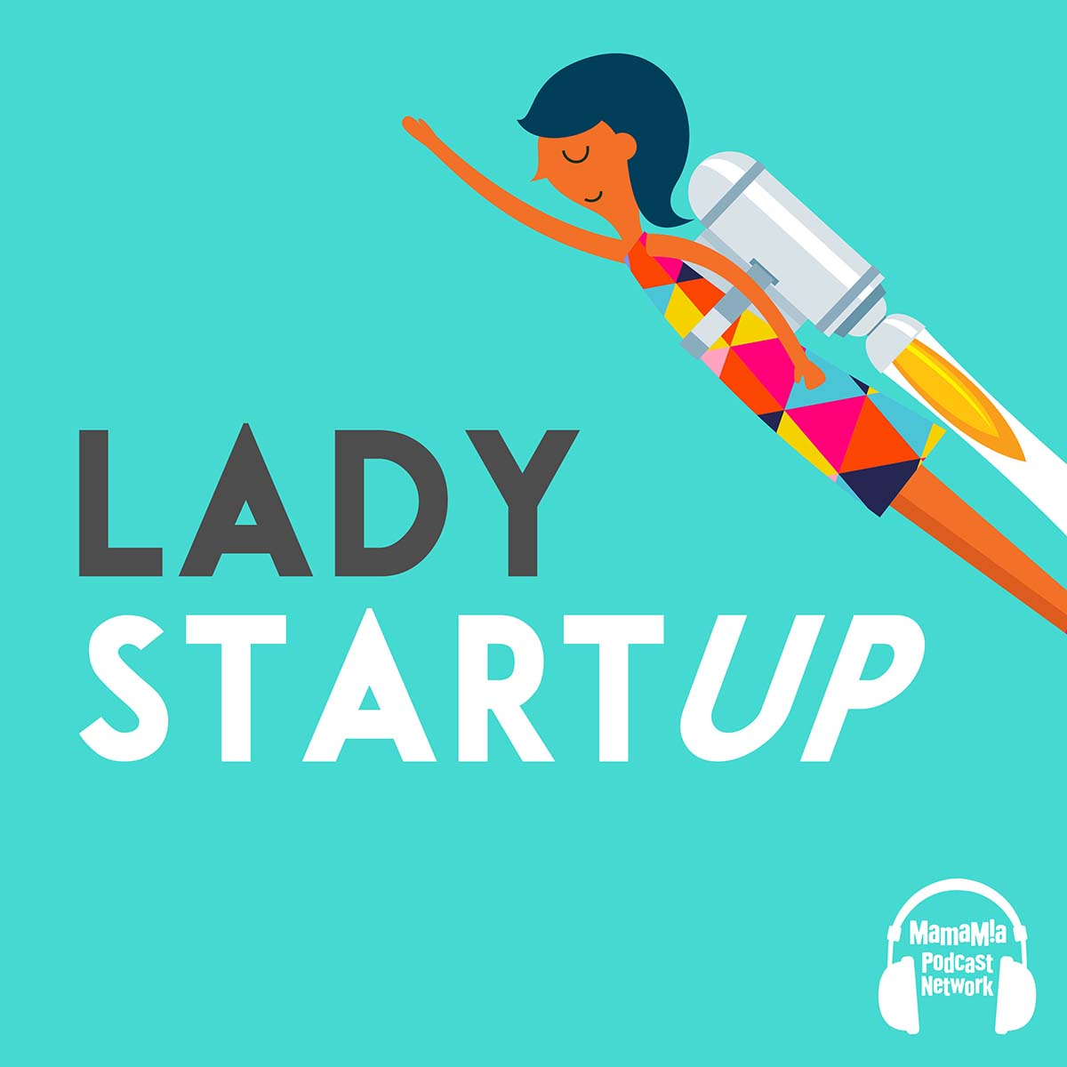 The Lady Start Up logo featuring a woman with a rocket on her back