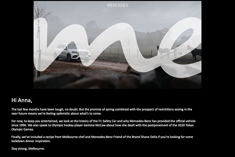 Mercedes-Benz: content marketing during COVID