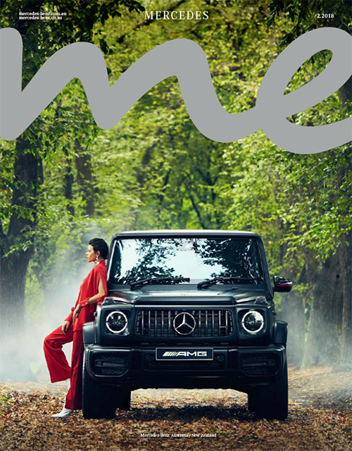 The cover of Mercedes me magazine with a woman leaning against a Mercedes