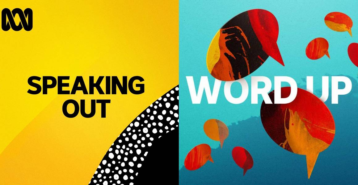 The covers of the Speaking Out and Word Up podcasts