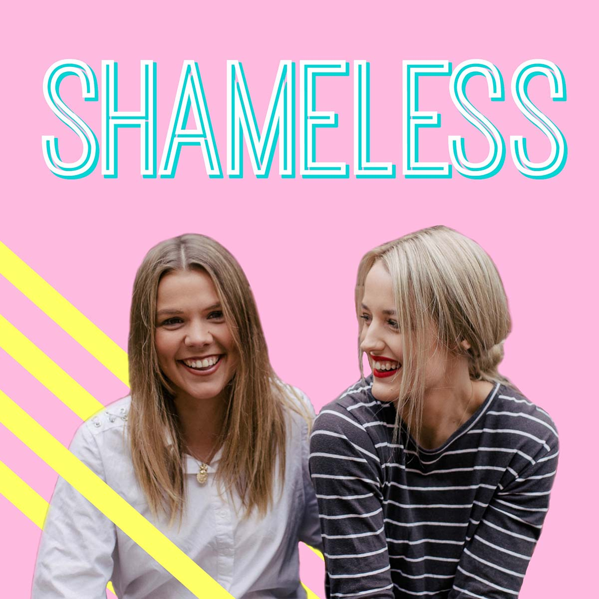 Two women laughing below the Shameless logo