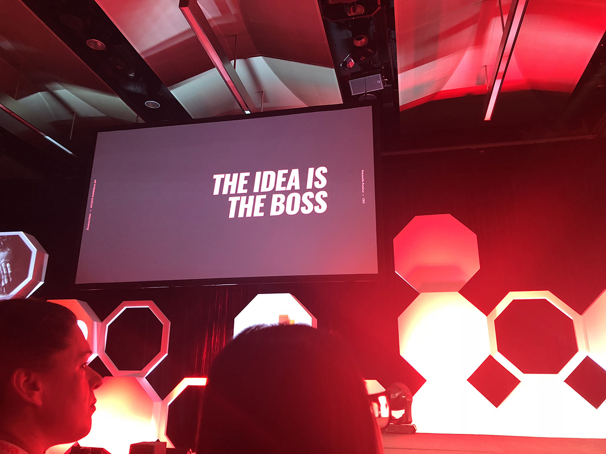A presentation screen displaying 'the idea is the boss'