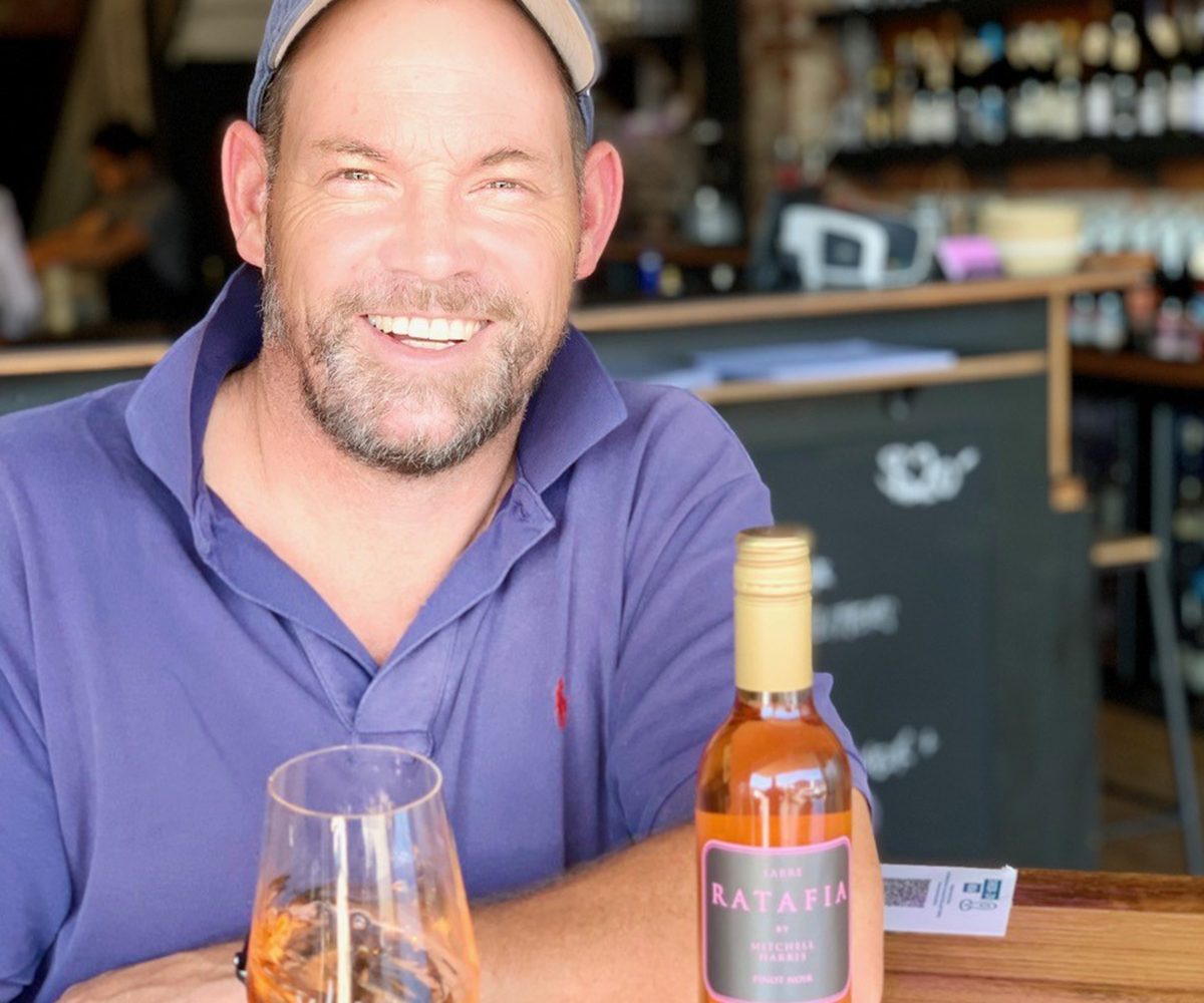 John Harris of Mitchell Harris Wines with Ratafia, fortified pinot noir