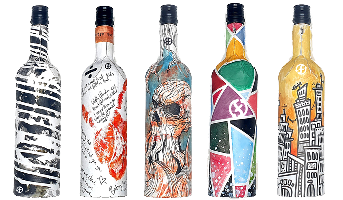 Frugalpac paper wine bottles in colourful designs
