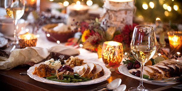 Festive meal with turkey and white wine