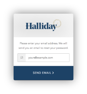 Halliday Reset Password Screen