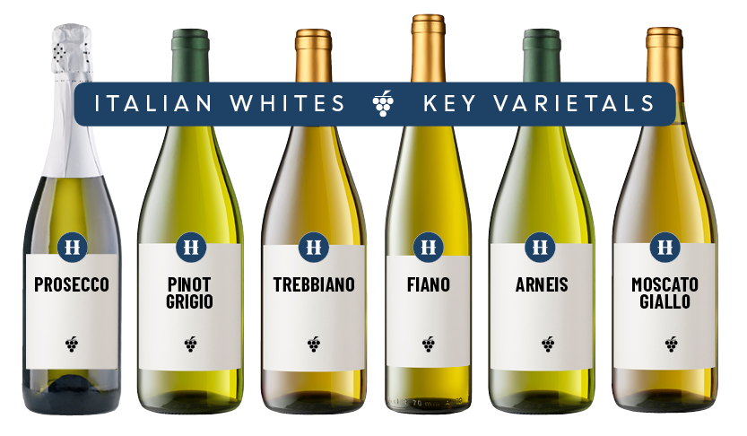 Collection of key Italian white wine varietals