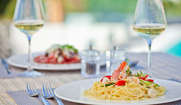 pasta and white wine