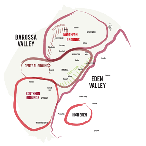 Map of the Barossa's sub regions