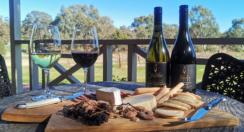 Schubert Estate wines and cheese platter