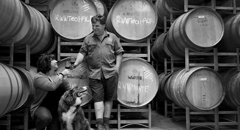 Waywood winemakers and barrels