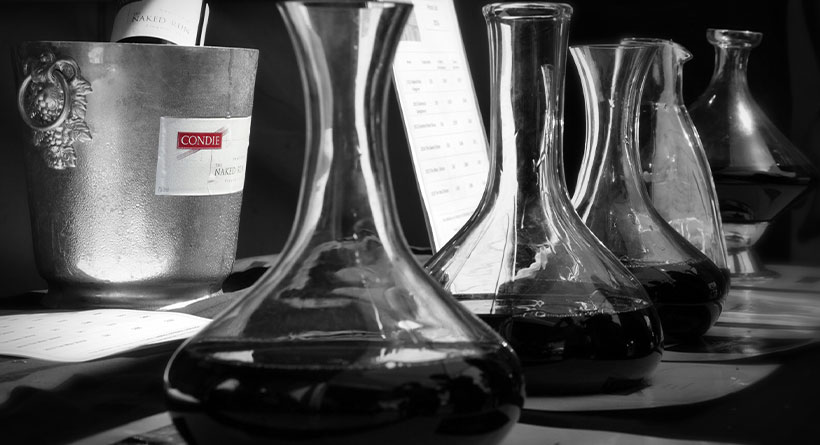 Condie Estate wines in decanter